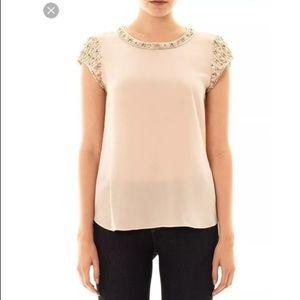 Nwot Rebecca Taylor embellished silk top sz4 A2